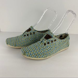 Toms Houndstooth Blu & Green Laceless Shoes Size 9
